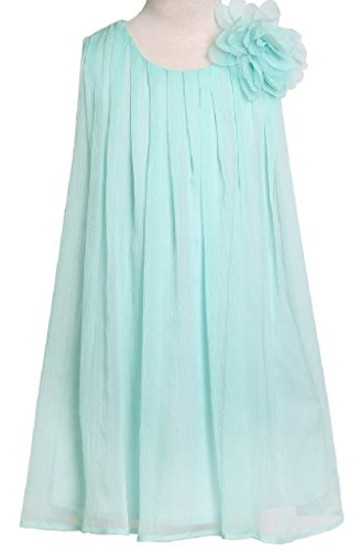Strapless Cathedral Train - Little Girls Adorable Chiffon Mesh Flower Flowers Girls Dresses Aqua Size 4
