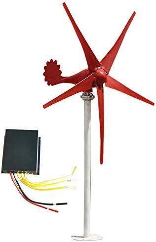 SYN-GUGAI DC 12V / 24V 500W / 600W / 700W / 800W Wind-Turbine-Generator mit Laderegler 5 Klingen für Heim, Gewerbe, Industrie Energie Supplementation, Gewerbe Windgenerator Windturbine,800W24V
