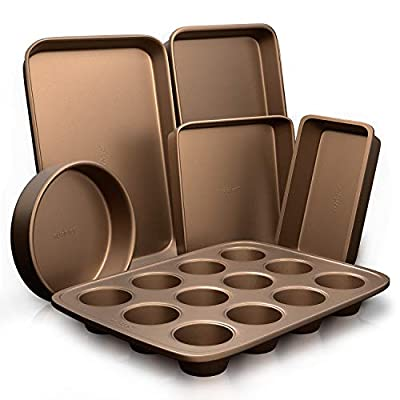 6-Pcs Nonstick Bakeware Set-Highest-Quality Baking Sheets, Non-Grease Cookie Trays, Wide & Square Bake Pan, Bread Loaf & Round Cake Pan, Designed Not To Wrap or Bend Out Of Shape - NutriChef NCBK6TR7