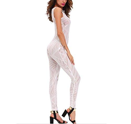 Erica Mujer rompe encajes sin mangas cuello redondo overoles pantalones mono WHITE-S