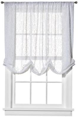 1 Simply Shabby Chic White Embroidered Batiste  Balloon Curtain Sheer Nwop