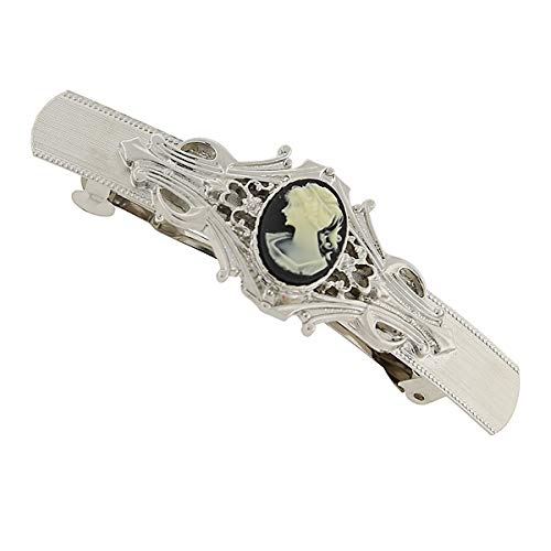 1928 Jewelry Silver-Tone Black and Simulated Ivory Cameo Oval Bar Barrette ()