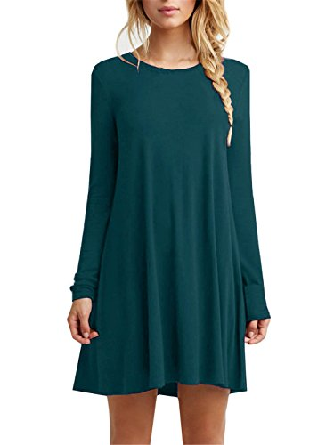 [Tinyhi Women's Casual Plain Long Sleeve Loose Swing Cotton Dress, Dark Green, X-Large] (Witch Cutouts)