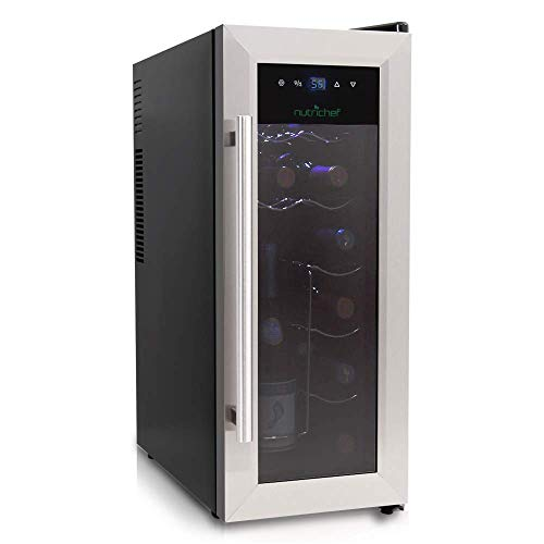 NutriChef 12 Bottle Thermoelectric Wine Cooler / Chiller | Counter Top Red And White Wine Cellar | FreeStanding Refrigerator, Quiet Operation Fridge | Stainless Steel (Renewed)