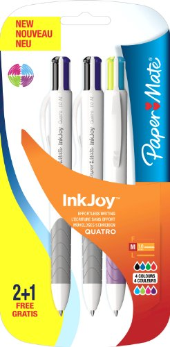 (Paper Mate Inkjoy Quatro Ball Pen Assorted Fun Colours - Pack of 2+1)