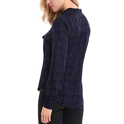 Camicia Autunno Kword Eleganti Collo Camicetta Blu Manica Scuro Maglietta Donna Lunga Top Chiffon Casual O shirt Felpa Dot T Donne In qrtXwt