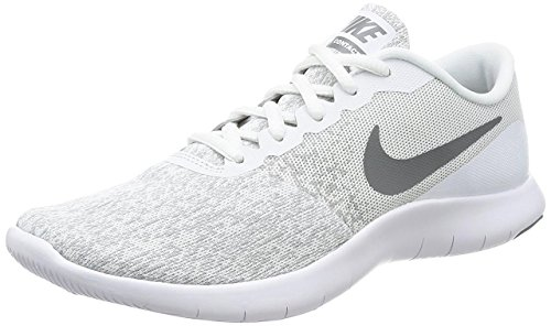 NIKE Women's Flex Contact, Running, White/Cool Grey-Metallic Silver, 9.5 US M