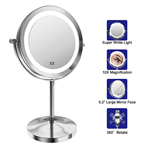 Lighted Makeup Mirror, 7 Inch Led Vanity Swivel Mirror 1x/10x Magnifying Double -