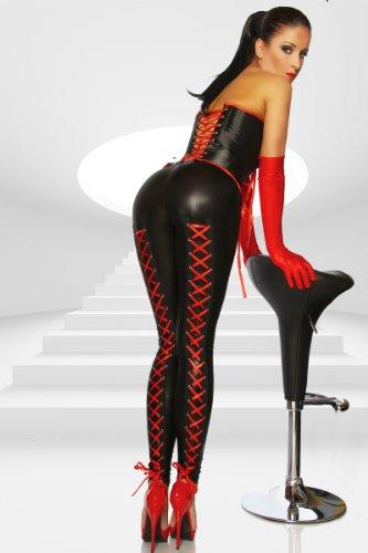 Wetlook-Leggings mit Schnürung - schwarz/rot - M