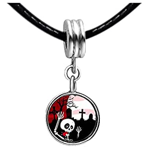 Chicforest Silver Plated scary skeleton in graveyard moon Photo Topaz Crystal November Birthstone Flower dangle Charm Beads Fits Pandora Charm