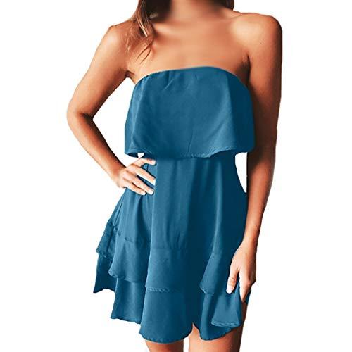(Womens Strapless Sexy Off Shoulder Ruffles Pleated Flowy Skater Mini Dress Summer Beach Dresses (M, Blue))