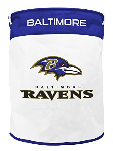 NFL Baltimore Ravens Canvas Laundry Basket with Braided Rope Handles