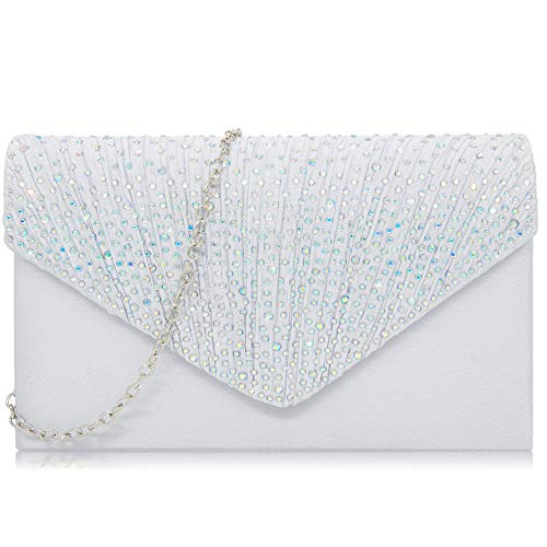 (Milisente Women Clutches Glitter Evening Bag Elegant Chain Clutch Purse (AB)