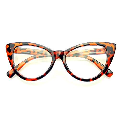 Emblem Eyewear - Cat Super Lunettes Lunettes De Soleil Mode Vintage Mod Clear Lens (Noir) s4FbLoGguB