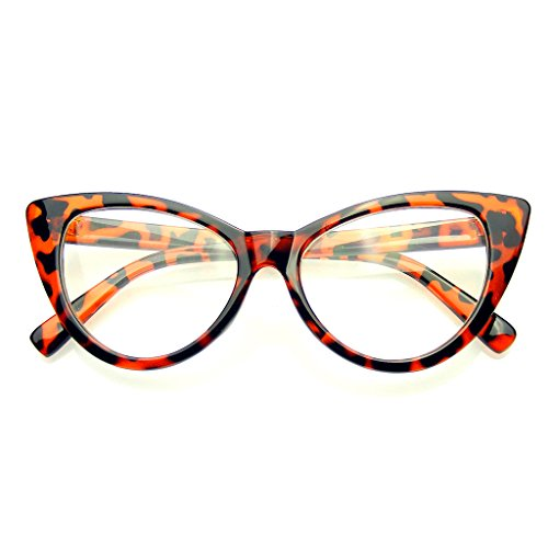 Super Cat Eye Glasses Vintage Fashion Mod Clear Lens Eyewear (Tortoise, - Eyewear Women For Fashion