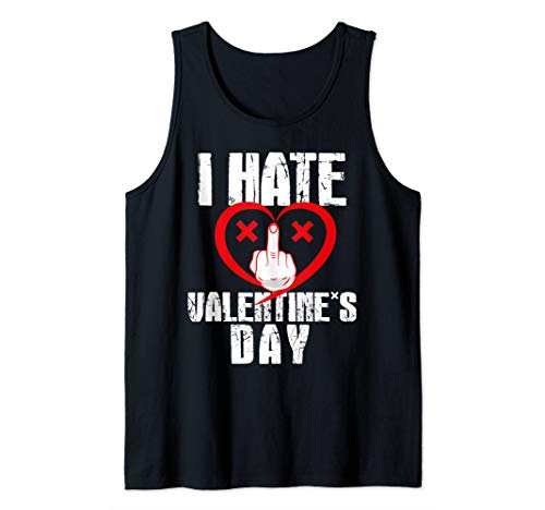 I Hate Valentine's Day Shooting a Bird Anti Valentines Day Tank Top