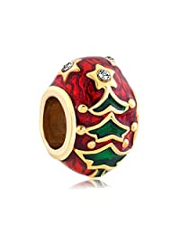 Charmed Craft Christmas Tree Charm Beads Jewelry Fit Pandora Charms Bracelet For Women Girls Gifts