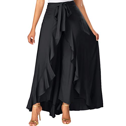 (Womens Grey Side Zipper Tie Front Overlay Pants Ruffle Skirt Bow Long Skirt)