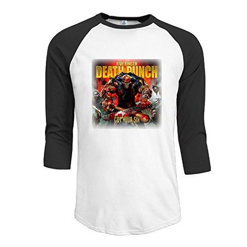 Price comparison product image Men's Five Finger Death Punch 100% Cotton 3 / 4 Sleeve Athletic Baseball Raglan Shirt Black US Size S