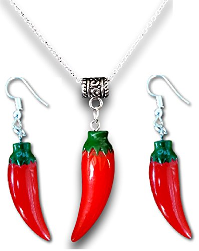 (Pashal Red Chili Pepper Pendant Necklace and Earrings)