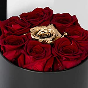 Box of Real Roses that last a year (Red and Gold) 3