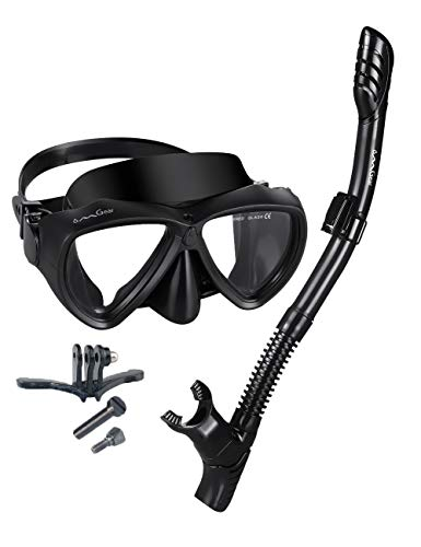 Gear Mask Black Scuba Dive - Snorkel Set Snorkeling Gear Package Diving Set Silicone Dive Mask Snorkel Equipment Goggles Anti-fog Anti-leak Fit Adult Kids Neoprene Mask Strap Scuba Diving Freediving Spearfishing Swimming (black1)