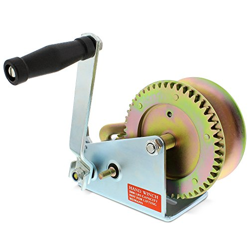 ABN 1 Ton Hand Winch Crank Gear Winch & Cable, Heavy Duty, up to 2000lbs for Trailer, Boat or ATV - Hand Winch Lift