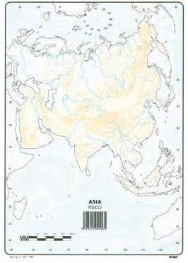 Mapa Mudo Asia Físico A4 (10 ud.): Amazon.es: Oficina y papelería