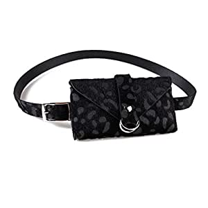 Women Leopard Print Fanny Pack Waist Bag Shoulder Purse Leather Clutch Handbag with Removable Strap, Black (Black) - NVbb-192005140Y-02