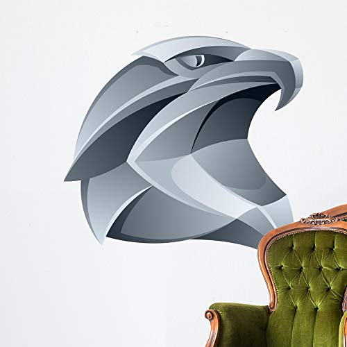 Wallmonkeys Silver Eagle Head Wall Decal Peel and Stick Animal Graphics (48 in H x 48 in W) WM308043