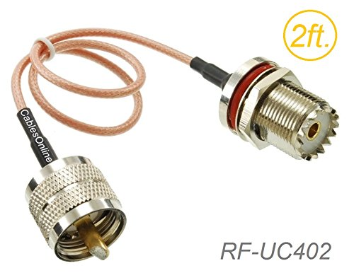 CablesOnline, 2ft. UHF PL259 Male to UHF S0239 Bulkhead Female 50-Ohm RG316 Coax Low Loss RF Cable, RF-UC402