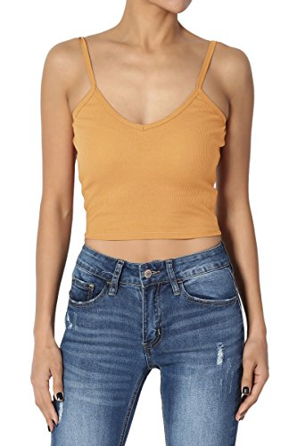 (TheMogan Junior's Basic Ribbed Cotton Knit Strappy Crop Tank Top Mustard S)
