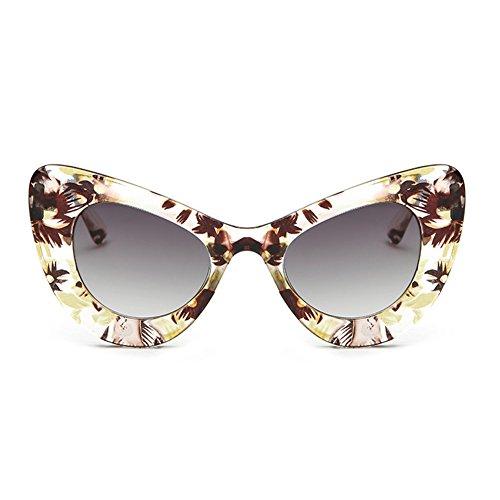 Eye Soleil De Lunettes Womens Bold Grau Cat Rétro Fuyingda Tee Gelbes Rim Cateye Rond Eyewear Glas Surdimensionné P7xqESdvw
