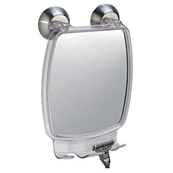 InterDesign Forma Power Lock   Shower Shaving Mirror With Razor Holder And  Suction Cup   Clear