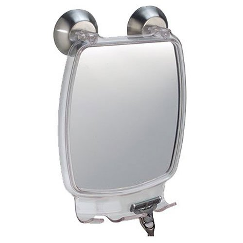InterDesign Forma Power Lock - Shower Shaving Mirror with Razor Holder and Suction Cup - Clear - 2.2 x 5.8 x 8.5 inches by InterDesign