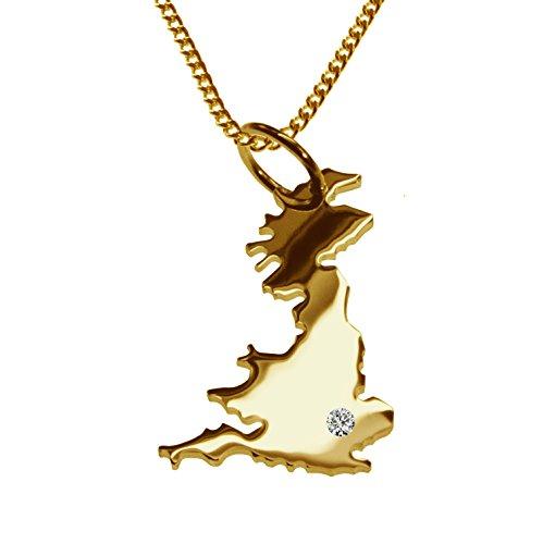 Endroit Exclusif Carte Angleterre Pays Pendentif avec brillant à votre Désir (Position au choix.)-avec Chaîne-massif Or jaune de 585or, artisanat Allemande-585de bijoux