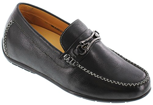 Toto H40012-2.4 inches Taller - height Increasing Elevator Shoes - Black Lightweight Loafers