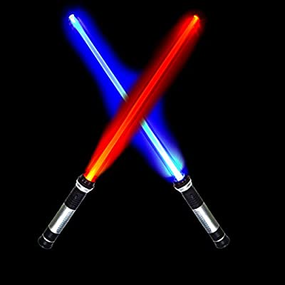 Laser Swords 2-in-1 LED (6 Colors) Light Up Saber Sword Set with Sound (Motion Sensitive) for Star Galaxy War Fighters and Warriors Lightsaber by Spooktacular Creations