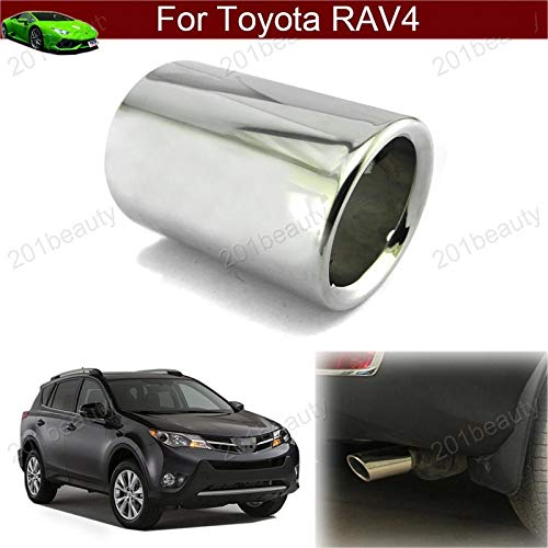 Car Stainless Steel Extension Pipes Exhaust Pipe Trim Muffler Rear Tail Pipe Tip Tailpipe Car End Tipe Emblems Silver Color for RAV4 2013 2014 2015 2016 2017 2018 not fit curved pipe