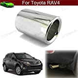 New Car Truck Modification Chrome Stainless Steel Exhaust Rear Tail Pipe Tip Tailpipe Muffler Pretector Silver Color Custom Fit For Toyota RAV4 2013 2014 2015 2016 2017 2018