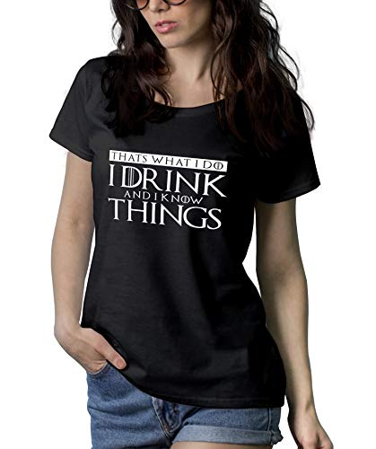 Womens Black Game Shirt of TV Series Thrones Merchandise | I Drink I Know, XL ()