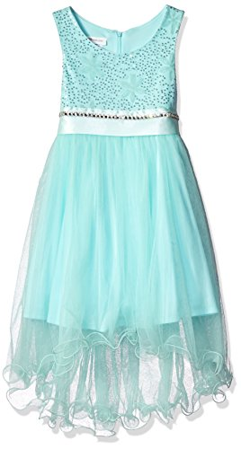 Bonnie Jean Little Girls' Toddler Sequin Mesh To Hi-Low Sheer Skirt, Mint, 4T (Sheer Occasion Special)