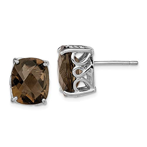 - Mia Diamonds 925 Sterling Silver Cushion Cut Smoky Quartz Earrings (12mm x 10mm)