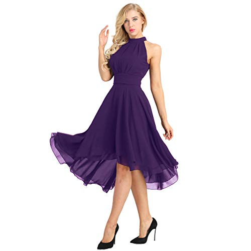 inlzdz Women's Halter Chiffon Asymmetrical High Low Short Country Bridesmaid Dresses Prom Homecoming Dress Purple 10