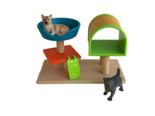 Terra Miniature Collectible Dollhouse Cats and Cat Tree for Lori Dollhouse