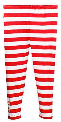 L'ovedbaby L'bKIDS Unisex Toddler - Kids Organic Cotton Leggings (3T, Red/White Stripe) (Red Fine Stripe)