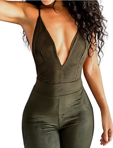 [Sedrinuo Women's Top Cross Backless Jumpsuit Small Army Green] (Sexy Jumpsuits For Women)