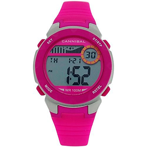 Cannibal Active Girl's Digital Chronograph Hot Pink Rubber Strap Watch CD273-14 by Cannibal