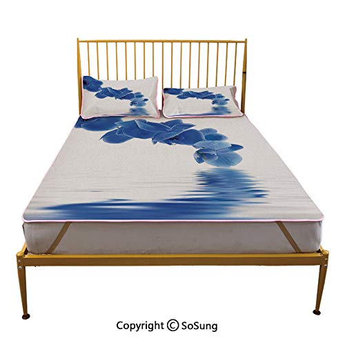 Blue Creative King Size Summer Cool Mat,Orchid Corsage Composition with Reflection in Water Zen Decor Bridal Garden Sleeping & Play Cool Mat,Violet Blue White