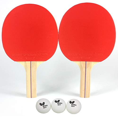 Butterfly RDJ Player Ping Pong Paddle Set - Includes Ping Pong Rackets and Ping Pong Balls - Choose Ping Pong Paddle Set of 2 or 4 - Table Tennis Racket Set